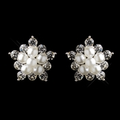 Enchanting Clear Rhinestone & White Pearl Snowflake Earrings 23035