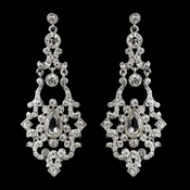 Silver Clear  Rhinestone Vintage Drop Earrings 71887