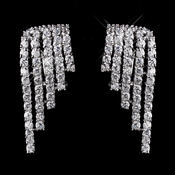 Antique Silver Clear CZ Crystal Dangle Wing Earrings 8980