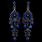 Antique Silver  Royal Blue Rhinestone Chandelier Earrings 1028