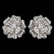 Antique Silver Clear Rhinestone Rose Clip On Earrings 22520
