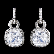 Antique Rhodium Silver Clear CZ Crystal Pave Princess Square Drop Earrings 8580