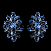 Hematite Navy Blue & Lt Blue Rhinestone Clip On Earrings 8944