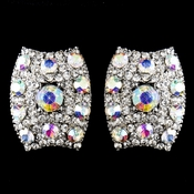 Antique Silver AB Rhinestone Clip On Earrings 8947