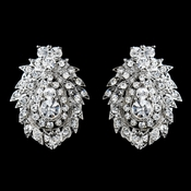 Antique Silver Clear Rhinestone Clip On Earrings 8948