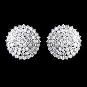 Antique Silver Clear CZ Crystal Round Earrings 9966
