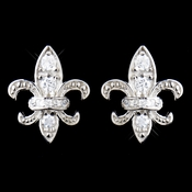 Solid 925 Sterling Silver CZ Crystal Fleur De Lis Stud Earrings 9991