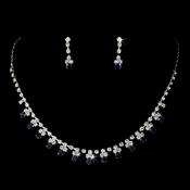 Silver Navy Rhinestone Necklace & Earrings Jewelry Set 3108