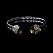 Designer Inspired Double Silver Cable Bangle Bracelet w/ Champagne Crystal Stones 3262