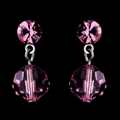 Pink Swarovski Crystal Bridal Earrings 202