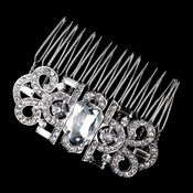 Antique Silver Rhinestone Comb 70990