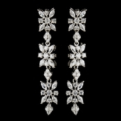 Antique Silver Clear Floral CZ Stone Earrings 5215