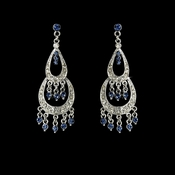 * Silver Navy Rhinestone Dangle Chandelier Earrings 804