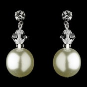 Silver Ivory Pearl & Swarovski Crystal Bead Earrings 8372