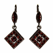 Antique Silver Burgundy Austrian Crystal Drop Bridal Earrings 9245