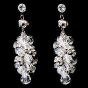 Antique Rhodium Silver Clear Swarovski Crystal Bead Earrings 9866
