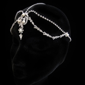 Antique Rhodium Silver Diamond White Pearl & Rhinestone Forehead Headpiece 1867