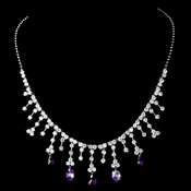 Silver Amethyst CZ Crystal Dangle Necklace 3628 ***0 Left***