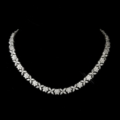 Antique Silver Rhodium Clear Floral CZ Stone Necklace 8104***Discontinued***