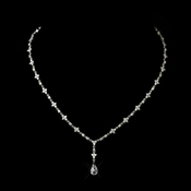 Antique Silver Clear Austrian CZ Crystal Bead Floral Necklace 8171