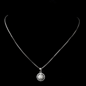 Antique Silver White Pearl & CZ Crystal Necklace 8902