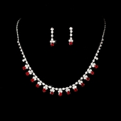 Silver Red Rhinestone Necklace & Earrings Jewelry Set 3108