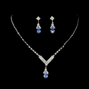 Silver Aqua Crystal Drop Jewelry Set NE 344
