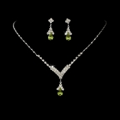 Silver Peridot Crystal Drop Jewelry Set NE 344