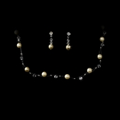 Illusion Bridal Silver Champagne Necklace & Earrings Jewelry Set 207