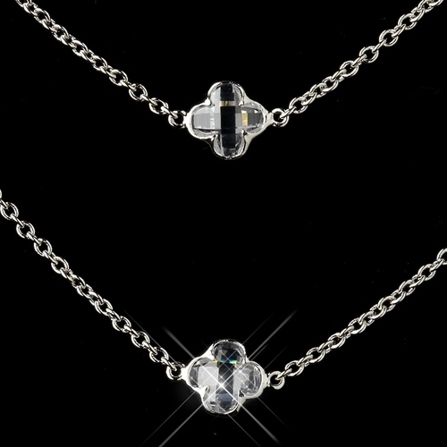 Silver Clear Crystal Necklace 8727