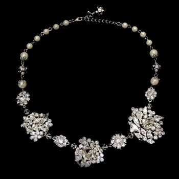 Antique Rhodium Silver Clear Ivory Pearl Accented Necklace 9860