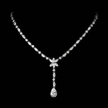 Charming Antique Silver Clear CZ Crystal Dangle Necklace 9000