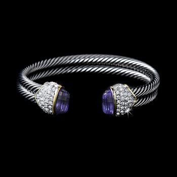 Designer Inspired Double Silver Cable Bangle Bracelet w/ Amethyst Crystal Stones 3262  * 4 Left *