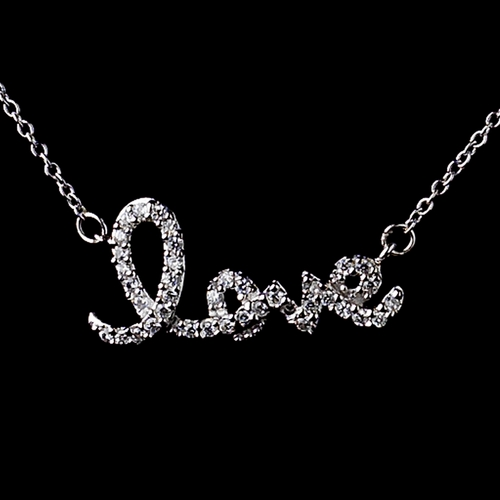 """Sterling Silver 925 Clear CZ Crystal """"Love"""" Necklace 8568"""