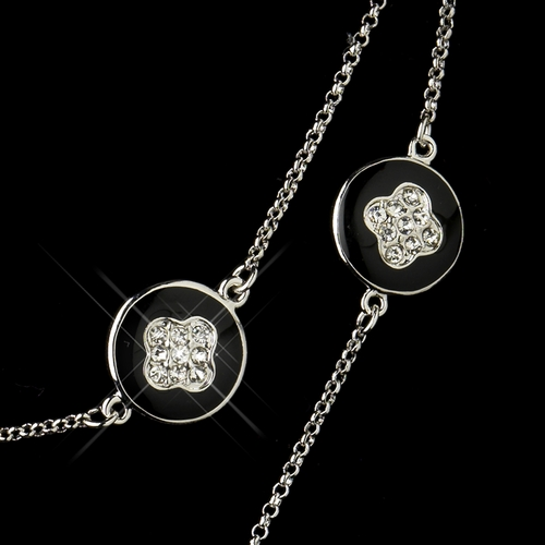 Black Stone with Silver and Crystal Necklace 8728