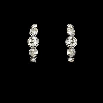 * Silver Clear Rhinestone Hoop Earrings 20339