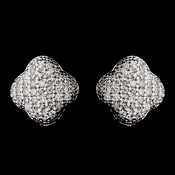 Silver Clear Rhinestone Clover Stud Earrings 8632