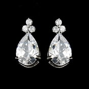 Stunning Silver Clear Cubic Zirconia Crystal Drop Earrings 2404 **Discontinued**