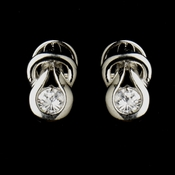 Silver Clear CZ Bridal Stud Bridal Earrings 1960
