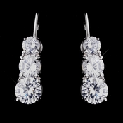 Antique Silver Clear CZ Leverback 3 Stone Earrings 5293