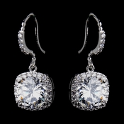 Antique Silver Clear Round CZ Crystal Stud Bridal Earrings 8652**Discontinued**