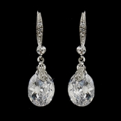 Gleaming Antique Silver Clear Oval CZ Dangle Earrings 5874