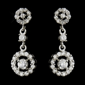 Antique Silver Clear Round CZ Crystal Bridal Dangle Bridal Earrings 8674