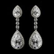 Antique Silver Clear Dangle Tear Drop CZ Crystal Bridal Earrings 8656
