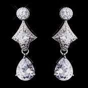 Sparkling Antique Silver Clear CZ Earrings 5559