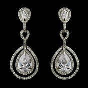 Antique Silver Clear CZ Crystal Dangle Bridal Earrings 8484