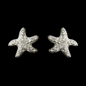 Antique Silver Clear CZ Crystal Starfish Bridal Earrings 4619