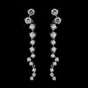 Silver Clear CZ Crystal Dangle Bridal Earrings 8649