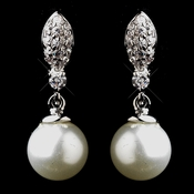 Silver CZ & Pearl Earrings E 9616