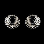 Vintage Silver CZ Black Stud Earrings 3587
